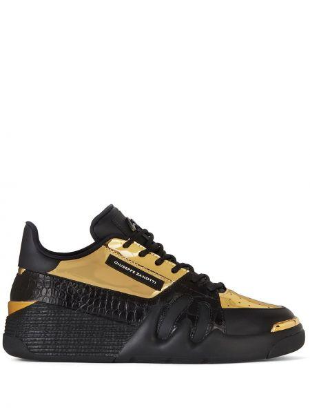 Czarny skórzane sneakersy perforowany z łatami na sznurowadłach Giuseppe Zanotti