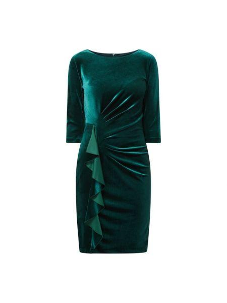 Zielona sukienka koktajlowa z aksamitu Paradi