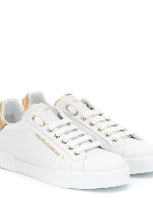 Кожаные кроссовки - белые Dolce & Gabbana