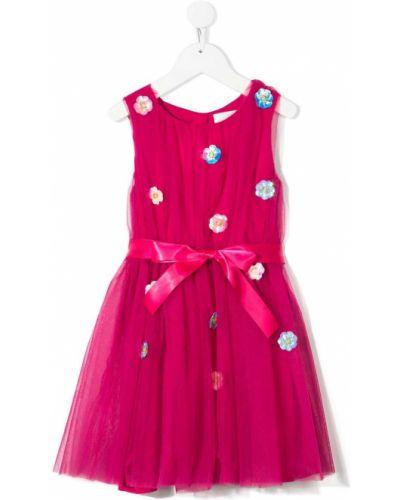 Różowa sukienka tiulowa z haftem Charabia