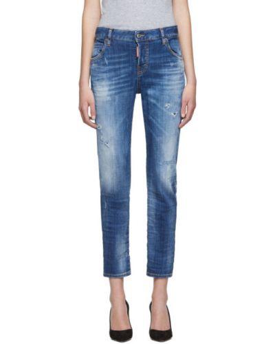 Zawężony niebieski jeansy do kostek z łatami z kieszeniami Dsquared2