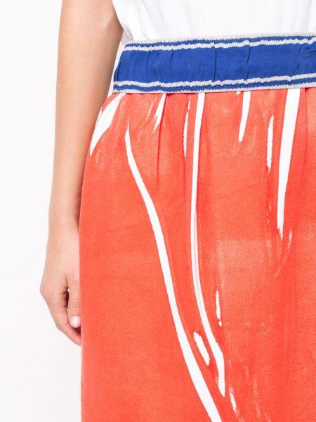 Красная кашемировая юбка миди с запахом в рубчик Rohka