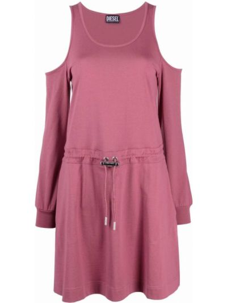 Хлопковое розовое платье макси с длинными рукавами Diesel