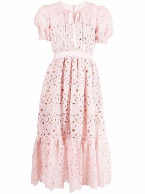 Розовое кружевное платье миди на шнуровке Self-portrait