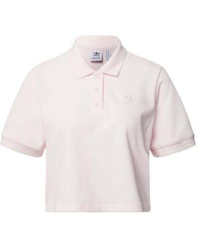 Różowy t-shirt bawełniany w paski Adidas Originals