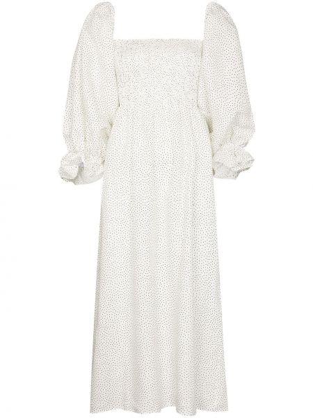 Biała sukienka midi w grochy Sleeper