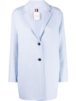 Синее шерстяное длинное пальто с воротником Tommy Hilfiger