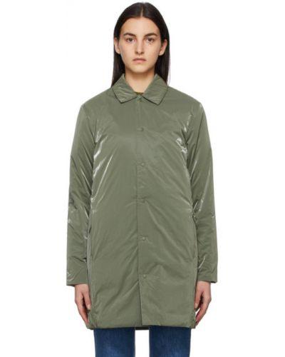 Зеленое длинное пальто для полных с воротником Rains