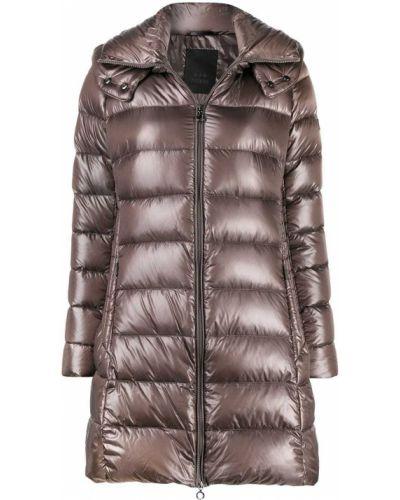 Пуховое коралловое длинное пальто с капюшоном Tatras