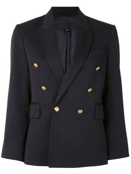 Синий удлиненный пиджак двубортный с карманами Nili Lotan