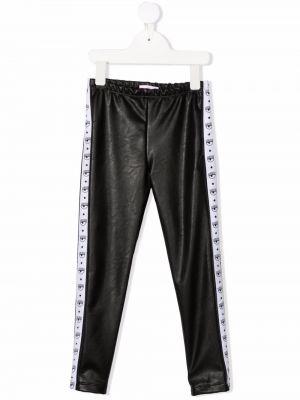 Czarne spodnie skorzane Chiara Ferragni Kids