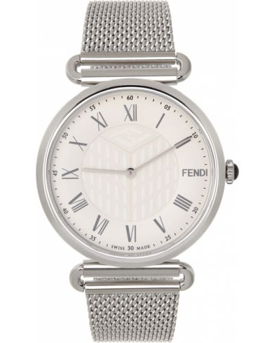 Biały zegarek kwarcowy srebrny Fendi