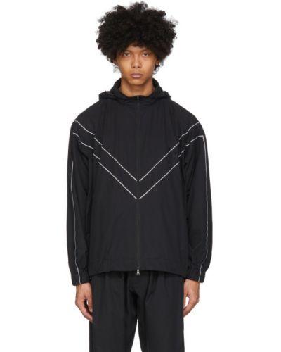 Czarna długa kurtka z kapturem z długimi rękawami Minotaur