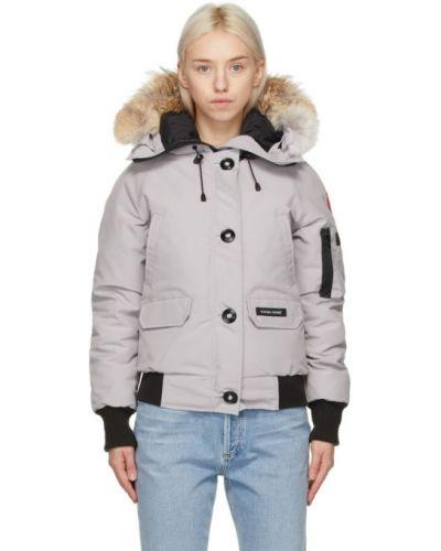 Ватная черная длинная куртка с капюшоном Canada Goose
