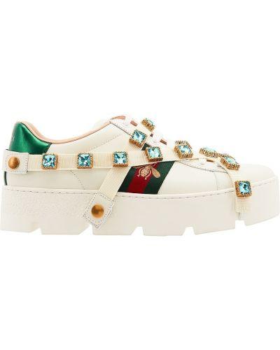 Кожаные кроссовки на платформе текстильные Gucci