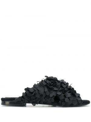 Кожаные черные сандалии на каблуке Maison Ernest