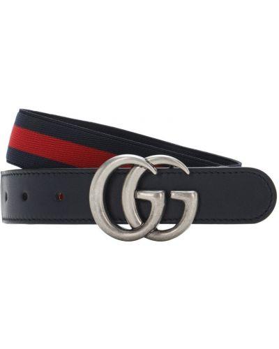 Niebieski skórzany pasek z paskiem z klamrą Gucci