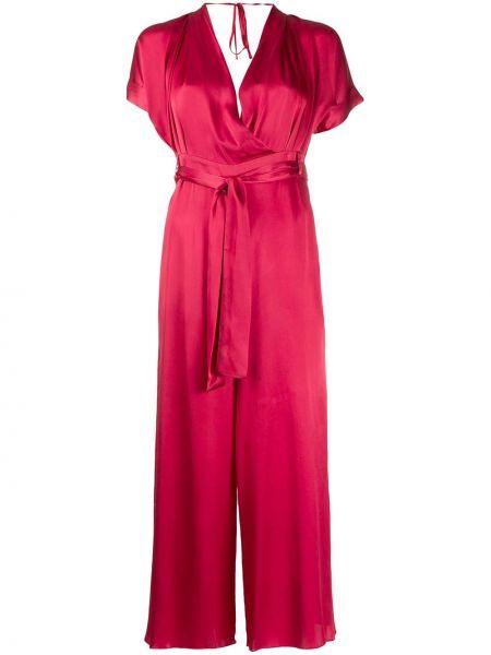 С рукавами красный комбинезон с шортами с поясом Semicouture