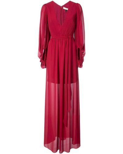 Красное платье с драпировкой Halston Heritage