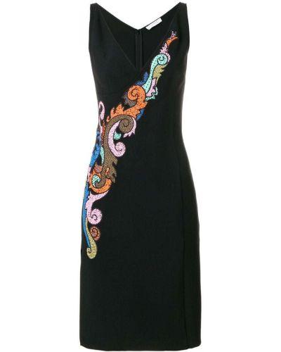 Платье с вышивкой - черное Versace Collection