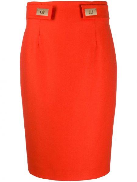 Золотистая оранжевая шерстяная облегающая юбка миди Paule Ka