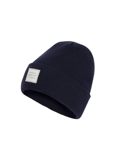 Prążkowana niebieska czapka bawełniana Gant