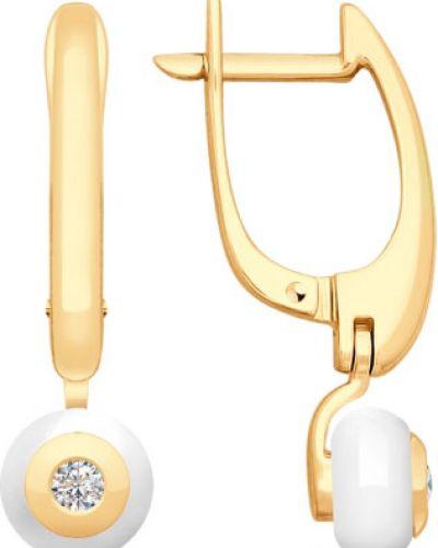 Золотые серьги с бриллиантом керамические Sokolov