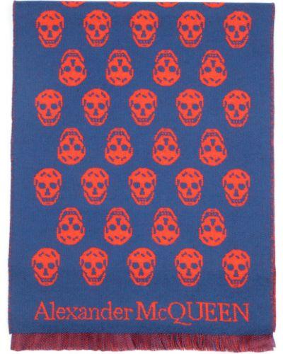 Szalik z frędzlami - niebieski Alexander Mcqueen