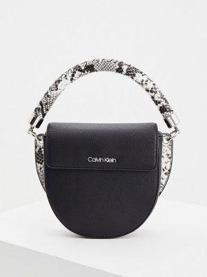 Черная кожаная сумка Calvin Klein
