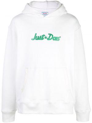 Biała bluza długa z kapturem z haftem Just Don