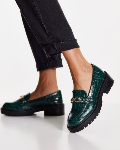 Loafers na obcasie - zielone Topshop