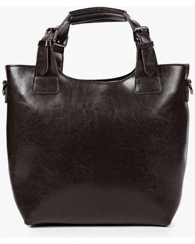 Коричневая сумка с ручками из натуральной кожи снежная королева