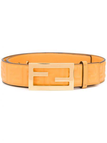 Skórzany żółty pasek z paskiem z logo Fendi