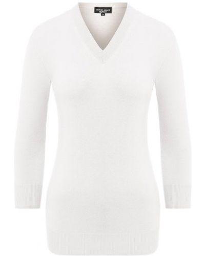 Кашемировый белый пуловер Giorgio Armani