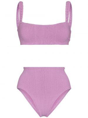 Фиолетовый бикини без рукавов с завышенной талией Hunza G
