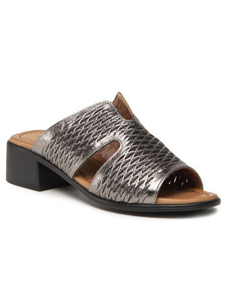Szare sandały srebrne Badura