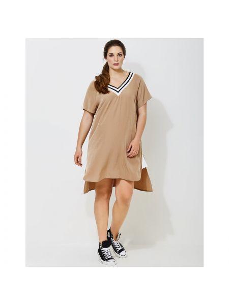 Расклешенное спортивное платье мини с V-образным вырезом на молнии Mat Fashion