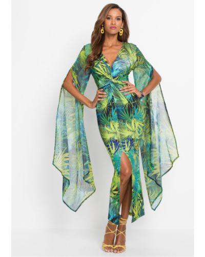 Платье с разрезом - зеленое Bonprix