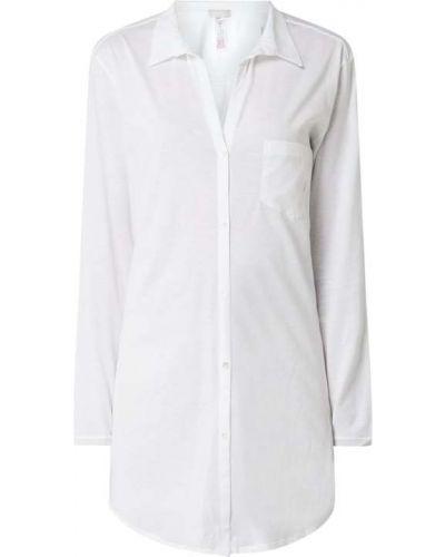 Biała koszula nocna bawełniana z długimi rękawami Hanro
