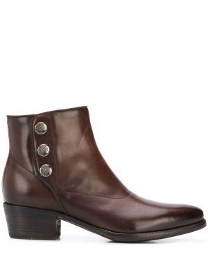 Кожаные коричневые ботинки на каблуке на каблуке на пуговицах Alberto Fasciani
