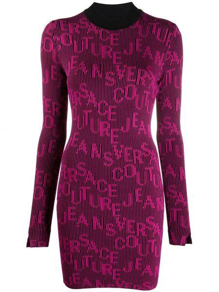 Вязаное черное платье мини с длинными рукавами Versace Jeans Couture