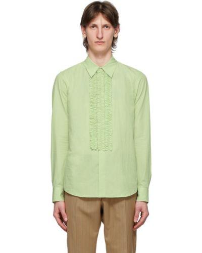 Зеленая рубашка с воротником с длинными рукавами Dries Van Noten