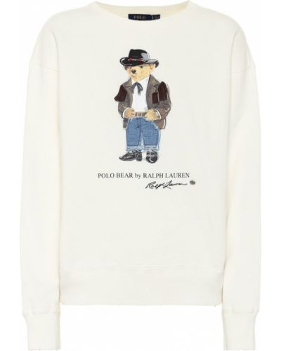 Ватный домашний хлопковый белый свитшот Polo Ralph Lauren