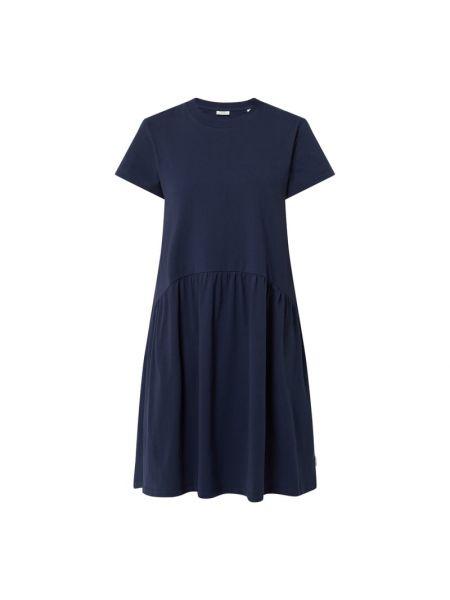 Sukienka rozkloszowana krótki rękaw - niebieska Marc O'polo Denim