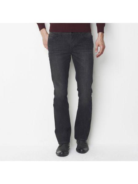 Черные прямые джинсы с карманами с жемчугом из вискозы La Redoute Collections