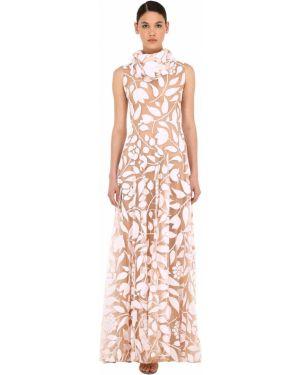 Biała sukienka długa tiulowa bez rękawów Sandra Mansour