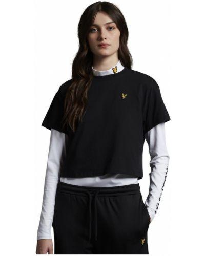 Czarna t-shirt oversize bawełniana Lyle & Scott