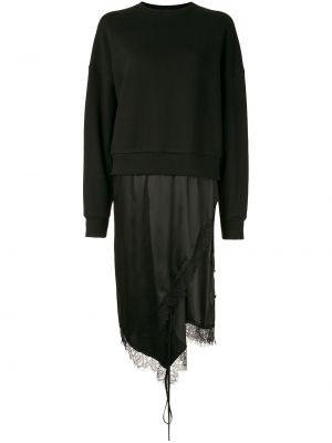 Черное асимметричное платье миди с вырезом из вискозы Goen.j