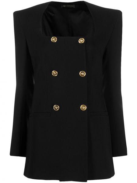 Шелковый черный пиджак двубортный Versace