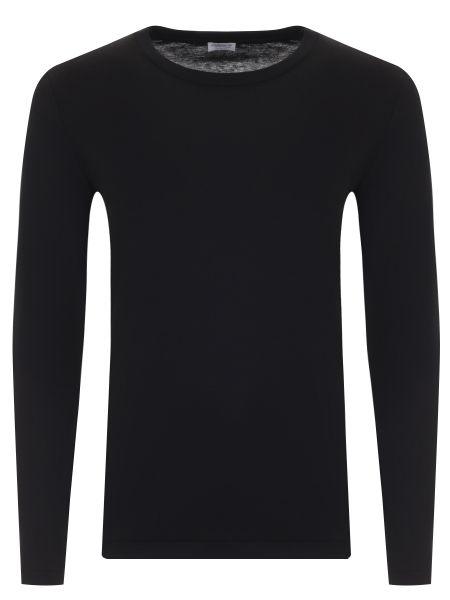 Хлопковая черная футболка с круглым вырезом круглая Zimmerli